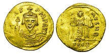 Ancient Coins - BYZANTINE EMPIRE.  Phocas, 602-610 AD.  Gold Solidus …