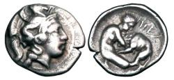 Ancient Coins - LUCANIA, Herakleia.  432-420 BC.  AR Diobol.   ex Clain-Stefanelli collection.
