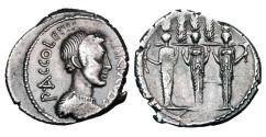 Ancient Coins - ROMAN REPUBLIC. P. Accoleius Lariscolus, 43 BC.  AR Denarius.