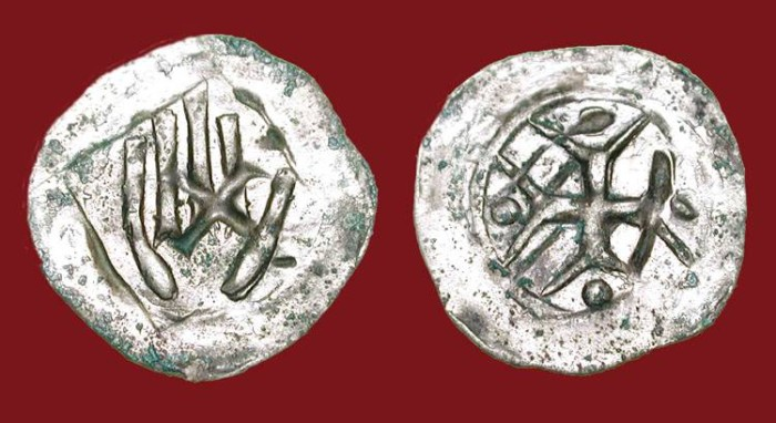 World Coins - GERMANY, Hall.  XIV Century AD.  AR Handheller.  Hand / Cross.  aXF
