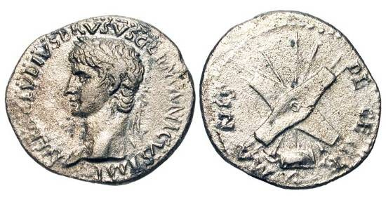 Ancient Coins - NERO CLAUDIUS DRUSUS, father of Claudius, d. 9 BC.  AR Denarius (3.42 gm).   Laureate head / Two shields crossed over spears,trumpets, and a central standard. RIC.74(R2)  …