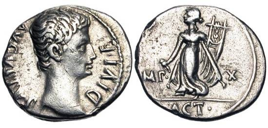 Ancient Coins - AUGUSTUS, 27BC-14AD.  Denarius (3.71 gm).  Bare head / Apollo standing, holding lyre and plectrum.  RSC.144.  RIC.171a.  Toned VF+.  Commemorates the battle of Actium.