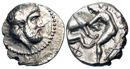 Ancient Coins - PAEONIA.  Lykkeios, 359-340 BC.  AR Tetradrachm.  Laureate head of Zeus / Naked Herakles wrestling Nemean Lion.  SNG.ANS.1019, same obv. die.  Paeonian.Hd.63.  Toned aXF