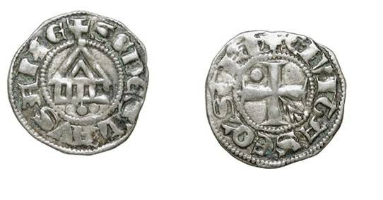 World Coins - SWITZERLAND,  Lausanne.    XIII-XIV Century AD.  AR Denier (0.87 gm).  Cross with branch and pellet / Temple.  Rob.4886v.  Toned VF+.