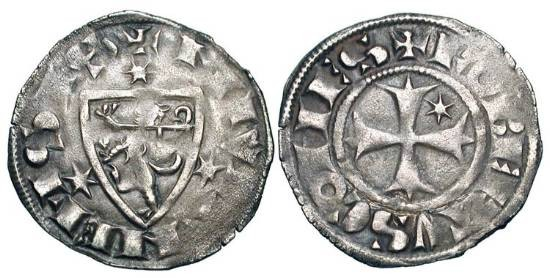 World Coins - FRANCE, Nevers.  Robert de Dampierre, 1271-1296 AD. AR Denier (0.76 gm).  Cross / Shield of arms.  Rob.4586.  B.350.  Toned VF.