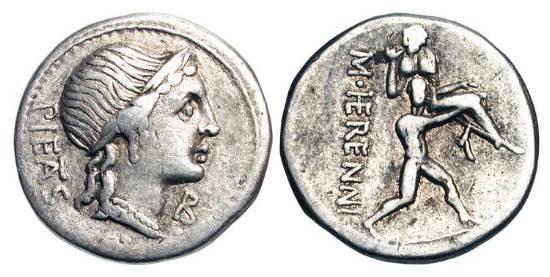 Ancient Coins - ROMAN REPUBLIC.  M. Herennius, 108-107 BC.  AR Denarius (3.84 gm).  Head of Pietas / Amphinomus carrying his father.  Herennia.1.  Cr.308/1a.  Toned VF.