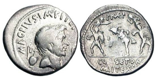 Ancient Coins - POMPEY THE GREAT, d. 48 BC.  AR Denarius (3.24 gm), issued 46-45 BC by his son Sextus Pompey.  Bare head, lituus and capis / Neptune flanked by the Catanian brothers. Cr.511/3a. …
