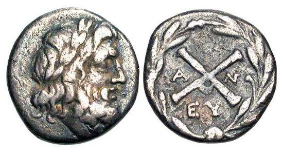 Ancient Coins - THE ACHAEAN LEAGUE.  Antigoneia, 196-146 BC.  AR Hemidrachm (2.23 gm), 188-180 BC.   Laureate head of Zeus / League monogram.  Clerk.192.  BCD.1492.3.  Toned VF.