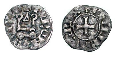 World Coins - ROYAL FRANCE. Philip IV the Fair.  1285-1314 AD.    Billon Obole Tournois à l'O Rond (0.43 gm) of 1307-1310 AD.  Castle / Cross.  D.224B.  Toned VF.  Scarce.