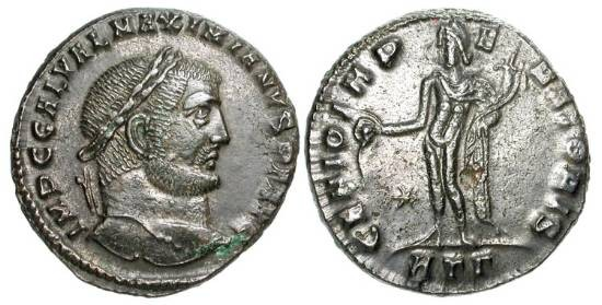 Ancient Coins - GALERIUS, 305-310 AD.  Æ Follis (10.00 gm), Heraklea, 310.  Laureate head / Genius standing holding patera and cornucopia.  RIC.48a.  XF, brown patina.
