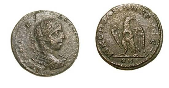 Ancient Coins - MOESIA INFERIOR, Nikopolis ad Istrum.  Caracalla, 198-217 AD.  Æ 20 (5.19 gm).  Laureate cuirassed bust / Eagle standing.  P.1558.  VF+, dark brown patina.