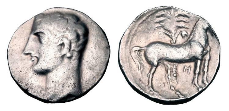 Ancient Coins - CARTHAGO NOVA.  Hannibal,  218-206 BC.  AR Shekel.  Choice Hannibal portrait.
