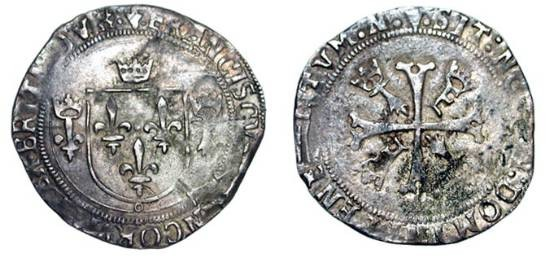 World Coins - FRANCE.  Francois I, 1515-1547 AD.  AR Grand Blanc de Bretagne Nantes.  Shield of arms with crown, crowned lis, and crowned ermine /  Cross with crowned Fs and ermines.  DuP.854.