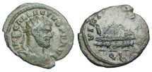 Ancient Coins - ALLECTUS, 293-296 AD.  Æ Quinarius (2.13 gm) of London.  Radiate cuirassed bust / Galley under oar.  RIC.55.  VF, dark green patina.