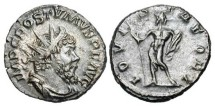 Ancient Coins - POSTUMUS, 259-268 AD.  Billon Antoninianus (4.12 gm) of Cologne.  Radiate draped bust / Jupiter standing with thunderbolt and sceptre.  RIC.309.   aXF, brown patina.
