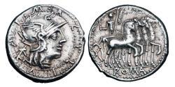 Ancient Coins - ROMAN REPUBLIC.  M. Acilius M.f., 125 BC.  AR Denarius.
