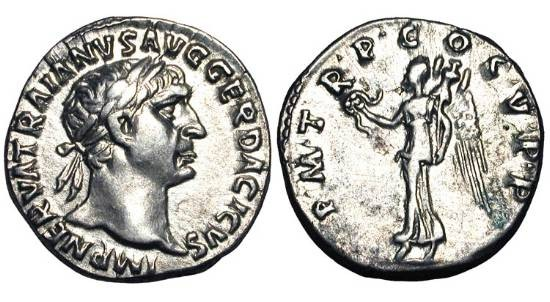 Ancient Coins - TRAJAN, 98-117 AD.  AR Denarius (32.8 gm).  Laureate head / Victory standing holding wreath and palm.  RIC.83.  Toned XF.