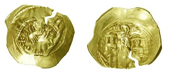 Ancient Coins - BYZANTINE EMPIRE.  Andronikos II & Michael IX, 1295-1320 AD.  Gold Hyperpyron of Constantinople.  The Virgin Mary within the city walls / Christ.  S.2396.  Crude VF, flan crack.