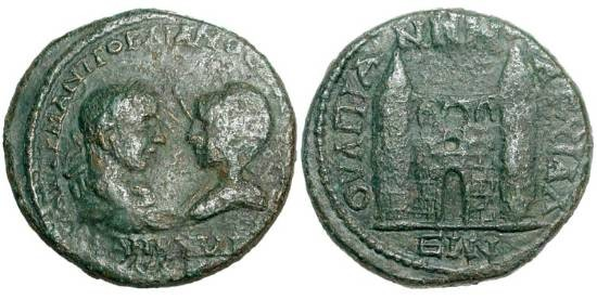 Ancient Coins - THRACE, Anchialos.  Gordian III and Tranquillina, 238-244 AD.  Æ 22 (11.34 gm).  Confronted busts / City gate with two towers.  M&S.681v.  aVF, dark green patina.