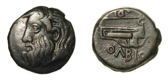 Ancient Coins - THRACE, Olbia.  III-I Century BC.  Æ25 (8.26 gm), period IV.  Bearded head of river-god Borysthenes / Battle-axe and bow. SNG.BM.484.  VF+, black patina.