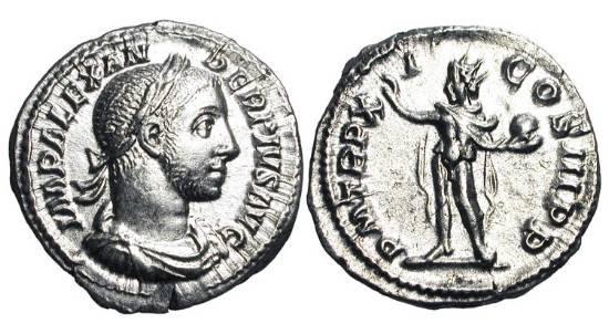 Ancient Coins - SEVERUS ALEXANDER. 222-235 AD.  AR Denarius (3.56 gm), 232.  Laureate head / Sol standing holding globe.  RIC.112  Near Mint