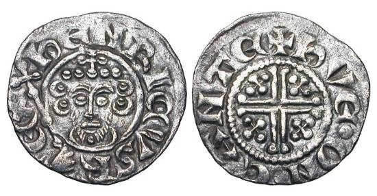 World Coins - ENGLAND.  John Lackland, 1199-1216 AD.  AR Penny (1.35 gm) of Canterbury Cl.5b.   HVE ON CANT.  Crowned bust / Short cross.   S.1351.  Toned VF+.