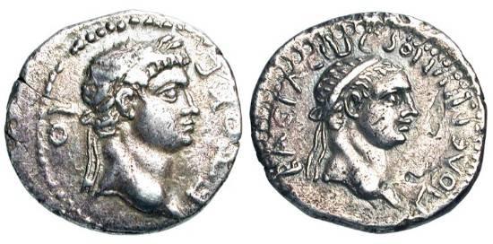 Ancient Coins - KINGDOM of PONTOS.  Polemo II, 38-63 AD.  AR Drachm (3.38 gm), yr. 19, 56/7 AD.  Diademed head of Polemo / Laureate head of  Nero.  RPC.3831.  Toned VF.