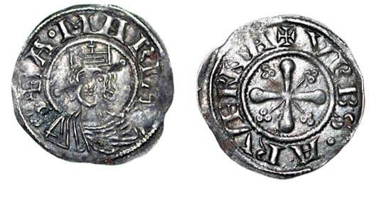 World Coins - FRANCE, Clermont.  XII Century AD.  AR Denier (1.03 gm).  Crowned bust of the Virgin facing / Cross wih long crosslets in angles.  Rob.4907.  Toned VF, cross shows through