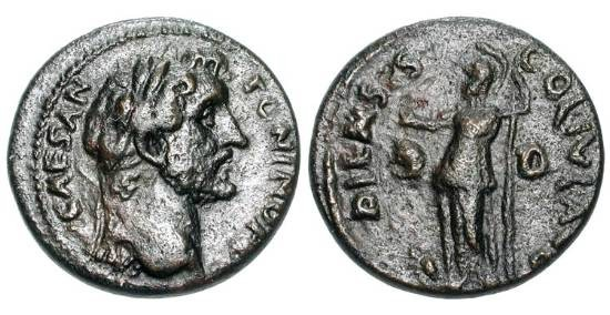 Ancient Coins - MACEDONIA, Dium.  Antoninus Pius, 138-161 AD.  Æ21 (7.83 gm).  Laureate head / Athena with patera and spear, owl at feet.  Lindgren.1057.  VF+, brown patina.  Rare.