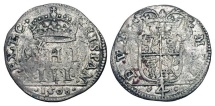 World Coins - ITALY, Milan.  Filippo III d'Espana, 1598-1621 AD.  Bil. 4 Soldi (2.69 gm), 1608.  Crowned PHI III / Crowned arms.  Cr.16.  N&V.370.  Toned aVF.  Scarce.