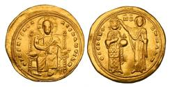 Ancient Coins - BYZANTINE EMPIRE.  Romanos III, 1028-1034 AD.  Gold Histamenon Nomisma.  Very rare without nimbus.