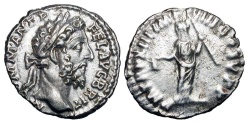 Ancient Coins - COMMODUS, 177-192 AD.  AR Denarius (2.64 gm), 187-8 AD.  Laureate head / Libertas standing holding pileus and rod.  RIC.168a.  aXF/VF.