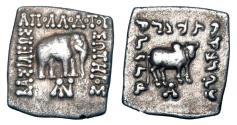 Ancient Coins - BAKTRIAN KINGDOM.  Apollodotos I, 160-150 BC.  AR Square Drachm.   ex Sellwood collection.