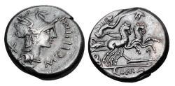 Ancient Coins - ROMAN REPUBLIC.  M. Cipius M.f., 115-114 BC.  AR Denarius.