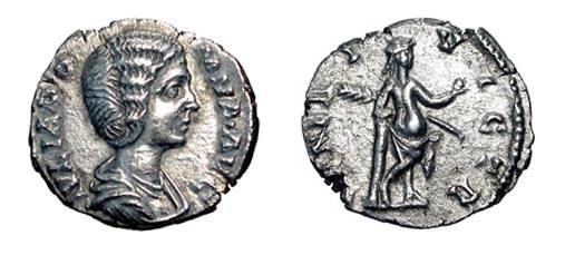 Ancient Coins - JULIA DOMNA, wife of Severus, d. 217 AD.  AR Denarius.  Draped bust / Venus, half draped, leaning on column, holding palm and apple.  RSC.194.  Toned XF.
