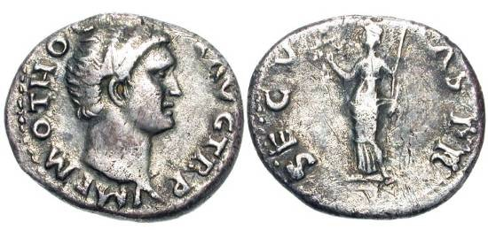 Ancient Coins - OTHO, Jan-Apr 69 AD.  AR Denarius (3.14 gm).  Bare head / Securitas standing with wreath and sceptre.  RIC.8(R2).   Toned VF.  Rare.