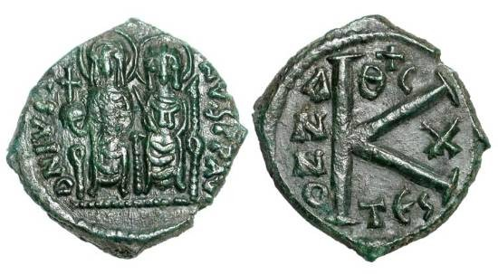 Ancient Coins - BYZANTINE EMPIRE.  Justin II, 565-578 AD.  Æ Half Follis (5.52 gm) of Thessaloniki, year 10.  Justin and Sophia enthroned / Large K.  S.366.  aXF, olive green patina.