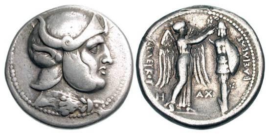 Ancient Coins - SELEUKID KINGDOM.  Seleukos I Nikator, 312-280 BC.  AR Tetradrachm (16.74 gm) of Susa, 305-295 BC.  Helmeted head of Alexander / Nike crowning trophy.  ESM.417.  H&L.173.12.  Toned