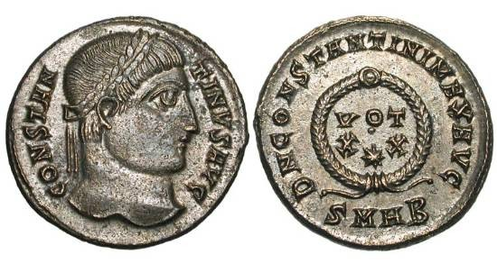 Ancient Coins - CONSTANTINE I, the GREAT, 307-337 AD.    Silvered Æ Follis (3.54 gm) of Heraklea.  Laureate head /  Votive inscription in wreath.  RIC.60.  Toned Near Mint.