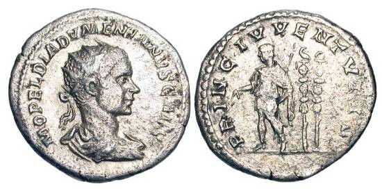 Ancient Coins - DIADUMENIAN, 218 AD.  AR Antoninianus as Caesar, 217 AD.  Radiate draped bust / Prince standing with baton and sceptre, two standards behind surmounted by eagle.   RIC.106(R2).