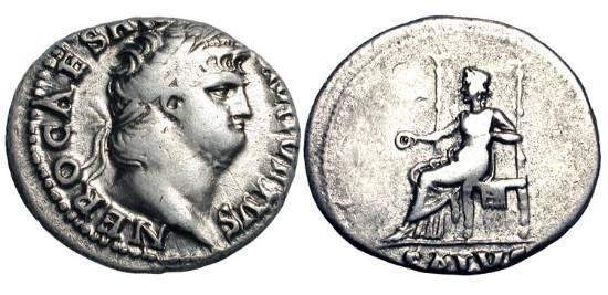 Ancient Coins - NERO. 54-68 AD. AR Denarius (3.23 gm), 65-6.  Laureate head / Salus enthroned holding patera. RIC.59.   Toned VF.