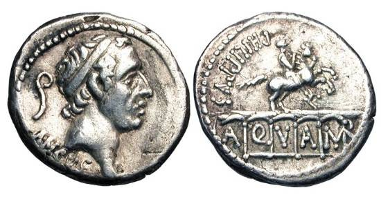 Ancient Coins - ROMAN REPUBLIC.  L. Marcius Philippus, 56 BC.  AR Denarius (3.85 gm).  Diademed head of Ancus Marcius / Equestrian statue on arcade of aqueduct.  Marcia.28.  Cr.425/1.  Toned VF.