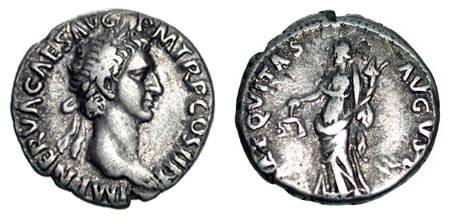 Ancient Coins - NERVA, 96-98 AD.  AR Denarius (3.20 gm), 96.  Laureate head / Aequitas standing with balance and cornucopia.  RSC.3.  VF+.