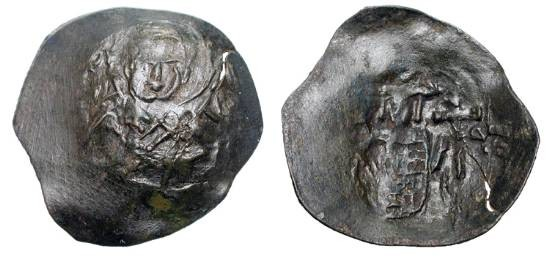 World Coins - BULGARIA.  Mitso Asen, 1256-1263 AD.  Æ Trachy of Tirnovo and/or Preslav.  Bust of St. Nicholas / Figure of Mitso standing holding scepter and very large cross, Manus Dei above.  …
