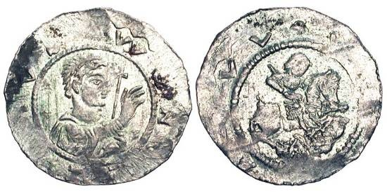 World Coins - BOHEMIA.  Wladislaw I, 1110-1118 AD.  AR Denar (0.64 gm).  Draped bust with cross / Knight riding down enemy.  Cach.536.  Fiala.431.  Toned XF, uneven strike