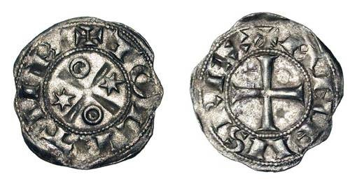 World Coins - SPAIN, Castile and Leon.  Alfonso VI, 1073-1109 AD.  AR Dinero (0.59 gm) of Toledo.  Cross / Stars and annulets.  C&C.975.  Toned XF.   Time of El Cid.