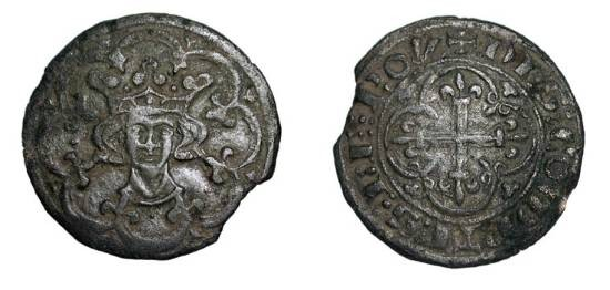 World Coins - FRANCE.  XV Century AD.  Æ Jeton (2.08 gm).  Crowned head facing in tressure / Fleury cross in quadrilobe, DES COMPTES LE ROY.  M.-.  VF, green patina, edge clip.