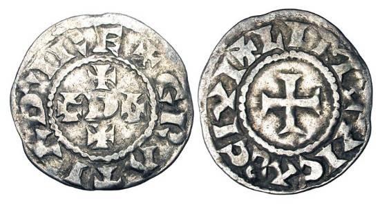 World Coins - FRANCE, Carolingians.  Odo, 888-897 AD.  AR Denier (1.66gm) of Limousin.  +ODO+ / Cross.    B.388.   Toned VF.  Rare.