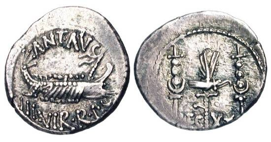 Ancient Coins - MARC ANTONY, 44-31 BC.  AR Legionary Denarius (3.67 gm), XX Legion.  Galley under way / Legionary eagle between two standards.  RSC.57.  Toned aXF.