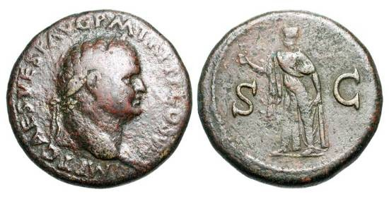 Ancient Coins - TITUS, 79-81 AD.  Æ Sestertius (26.40 gm).  Laureate head / Spes advancing with flower.  RIC.100.  aVF, brown patina.